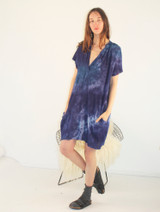 INDIGO WASH GAUZE MUSCLE PEASANT SHORT DRESS