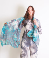 100% CASHMERE SCARF TEAL GREY