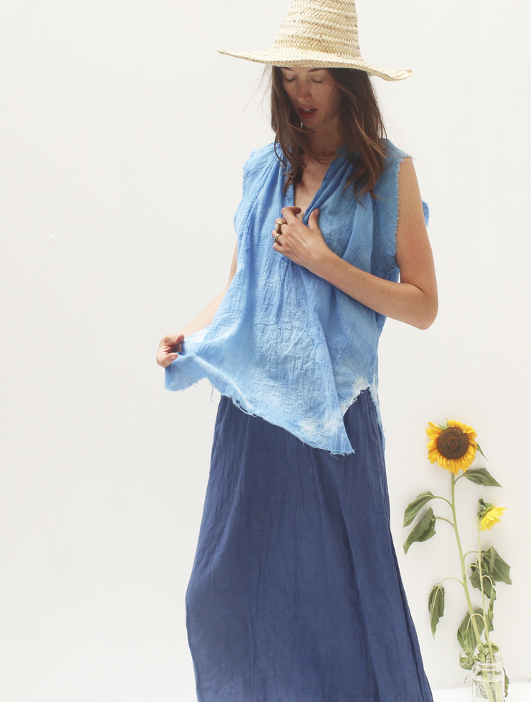 AZUR WASH GAUZE MUSCLE PEASANT TOP