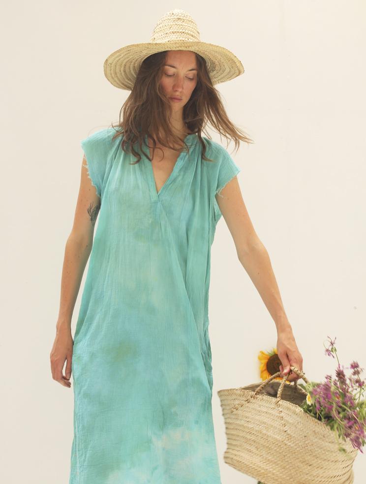 TURQUOISE WASH GAUZE MUSCLE PEASANT DRESS