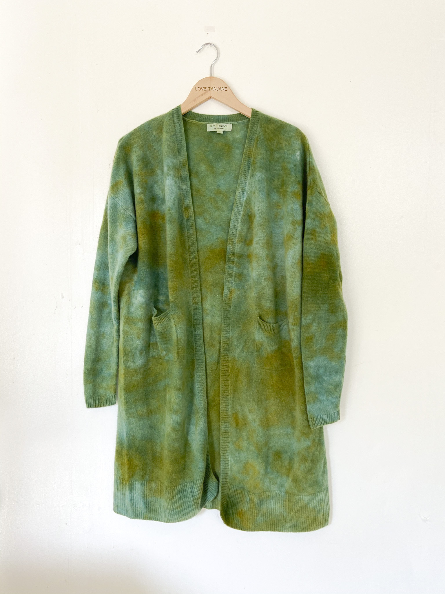 100% CASHMERE RUSTY GREEN WASH POCKET DUSTER