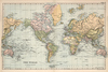 "Vintage 1891 Atlas World Map ""The World"" Mural printed in your choice of Wall Vinyl Decal or Fabric Wall Decal."