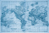 "Vintage 1891 Atlas World Map ""The World"" Mural printed in your choice of Wall Vinyl Decal or Fabric Wall Decal. Blue tinted Colors"