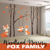 Baby Fox FAMILY Orange 4 Birch Trees Wall Decals Woodland