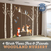 4 Trees Nursery Woodland Wall Decals Fox and Friends 10 watercolor animals American Decals http://ameridecals.com