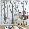 Grey Fox added to wall with vinyl trees (trees not included in this listing)