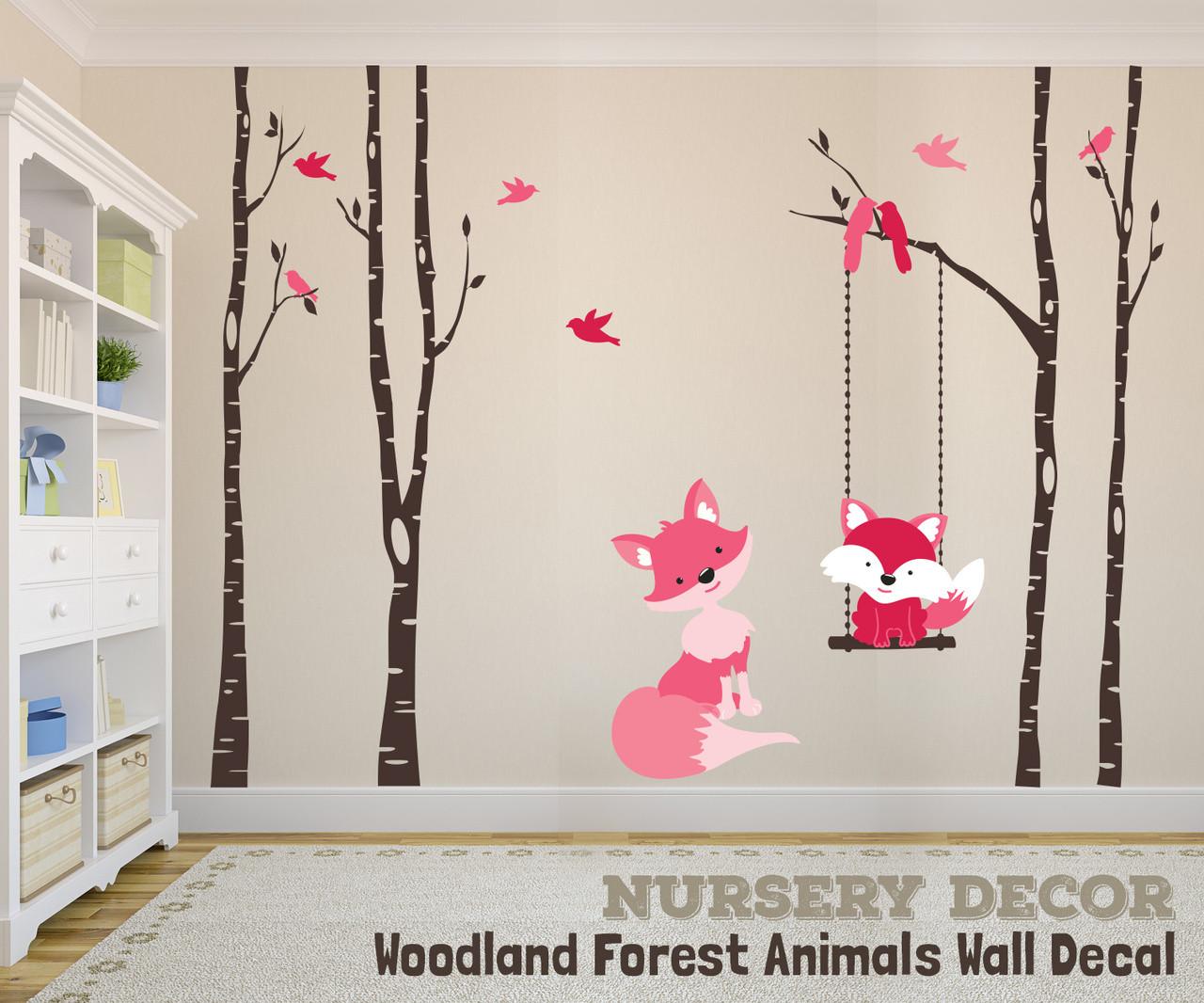 FOX FAMILY Woodland Nursery Decor Wall Decal 4 River Birch Nursery Trees Decor Baby Fox Swings from Branch Forest Birds Vinyl Baby Bedroom