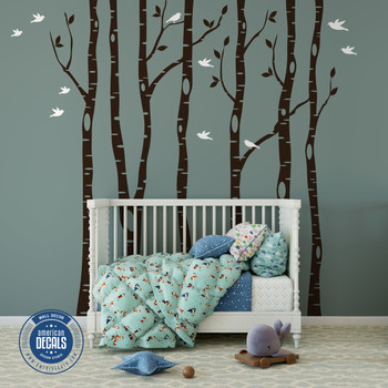 6 Birch Trees Wall Decals Forest Woodland Decor  www.ameridecals.com