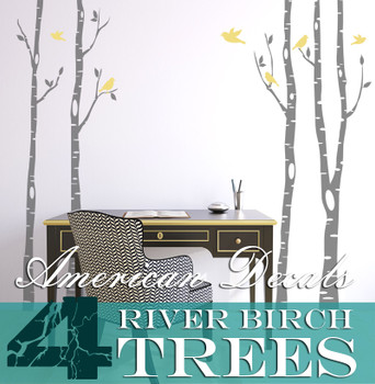 4 Trees Wall Decal River Birch Forest Woodland