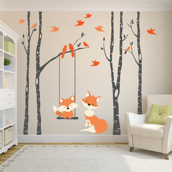 www.ameridecals.com Fox mom & Baby 4 birch trees Wall Decal Forest woodland Decor
