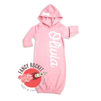 Personalized Baby Girl Hooded Gown Newborn Varsity