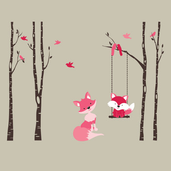 Baby Fox Pink 4 Birch Trees Wall Decal Forest Woodland Girls