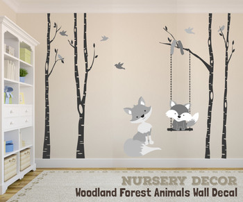 Baby & Mom Gray Fox 4 Trees Wall Decal River Birch Forest Woodland