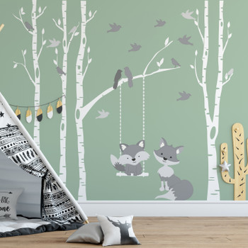 Baby & Mom Gray Fox 4 Trees Wall Decal River Birch Forest Woodland LEFT SIDE