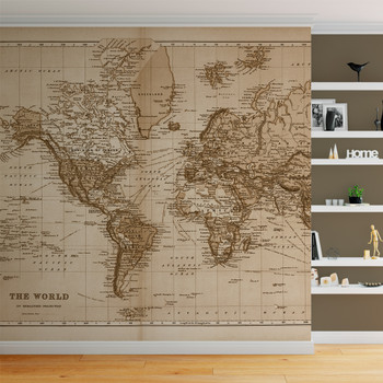 "Vintage 1891 Atlas World Map ""The World"" Mural printed in your choice of Wall Vinyl Decal or Fabric Wall Decal.  www.ameridecals.com"