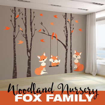 www.AmeriDecals.com Fox Family in the Forest Woodland Nursery Decor