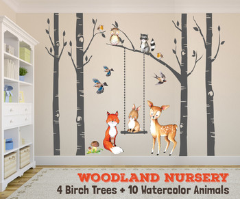 Nursery Woodland Animals Wall Decals Fox & Friends