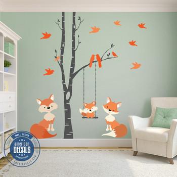 Family Fox Wall Decal Woodland Nursery www.AmeriDecals.com
