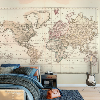 Wall Mural Vintage 1800 World Atlas Map 4 colors - Custom Sizes www.AmeriDecals.com