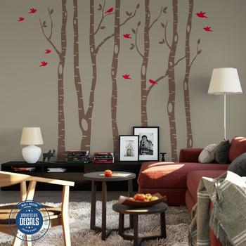 6 Birch Trees Nursery Wall Decals Forest Woodland Decor  www.ameridecals.com