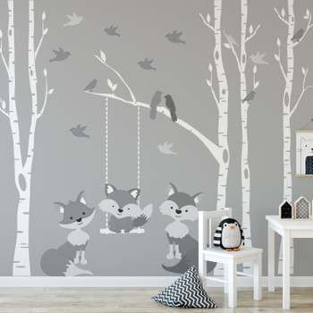 Family Fox Gray 4 Trees Wall Decal River Birch Forest Woodland RIGHT SIDE