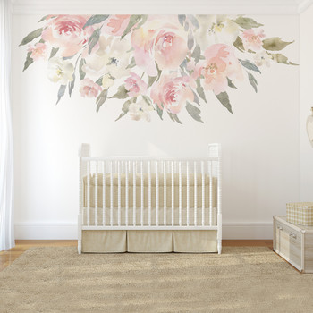 Delaney JANE Blush Pink Watercolor Flowers Wall Decal