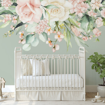 KATIE MAY Blush Pink Watercolor Flowers Wall Decal