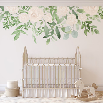Caroline White Roses Wall Decal Nursery Décor