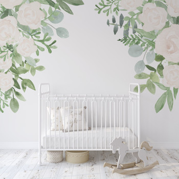 Caroline White Roses Corner Wall Decals Nursery Décor