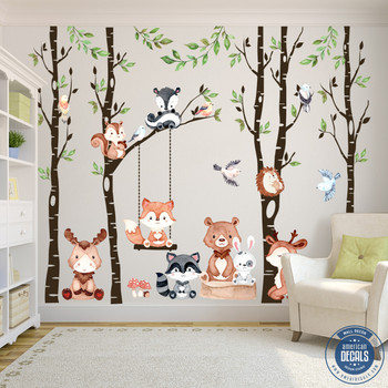Woodland Décor 4 Trees Nursery Wall Decals Forest CUTE BABY Animals
