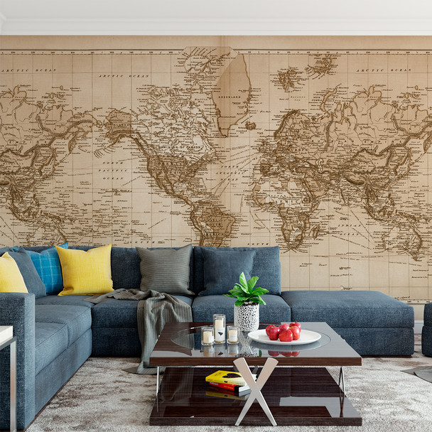 """Vintage 1891 Atlas World Map """"The World"""" Mural printed in your choice of Wall Vinyl Decal or Fabric Wall Decal. Sepia tinted Colors www.ameridecals.com"""