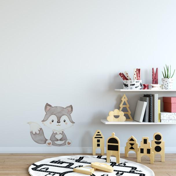 Grey Baby Fox watercolor wall decal