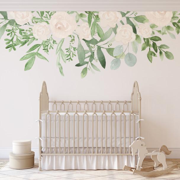 Caroline White Roses Wall Decal Nursery Décor