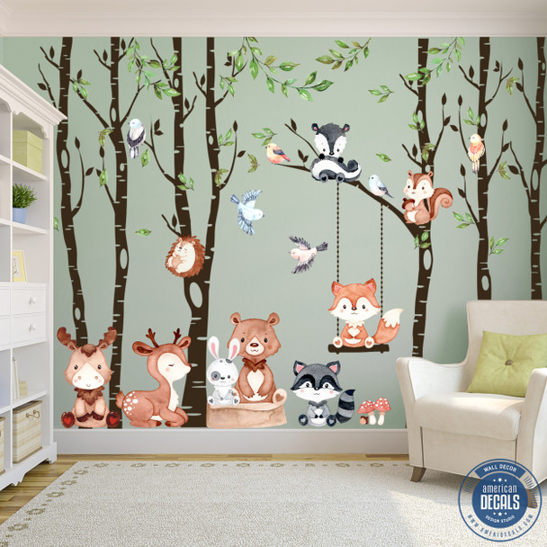 6 Trees Nursery Woodland Wall Decals American Decals http://ameridecals.com