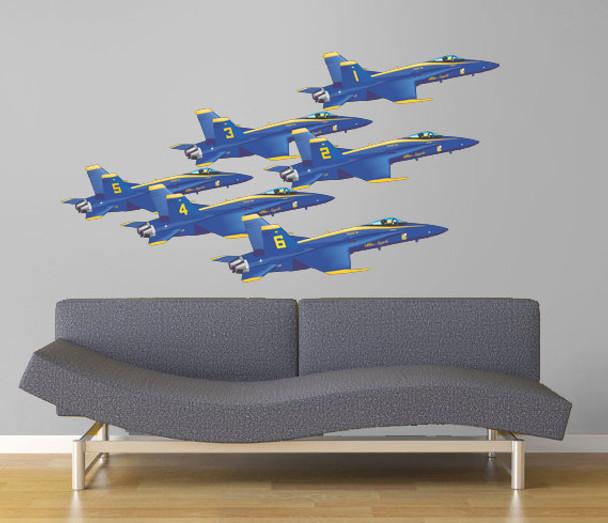 Blue Angels Delta Formation 6 Hornet airplanes