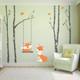 www.ameridecals.com Fox mom & Baby 4 birch trees Wall Decal Forest woodland Decor