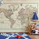 Wall Mural Vintage 1800 World Atlas Map 4 colors - Custom Sizes www.AmeriDecals.com
