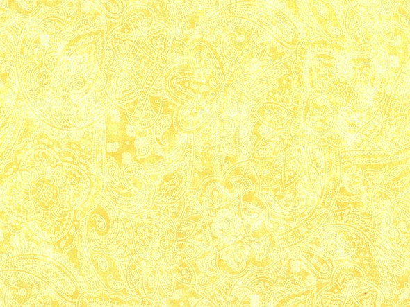Yellow wide quilt backing fabric w/ paisley overlay