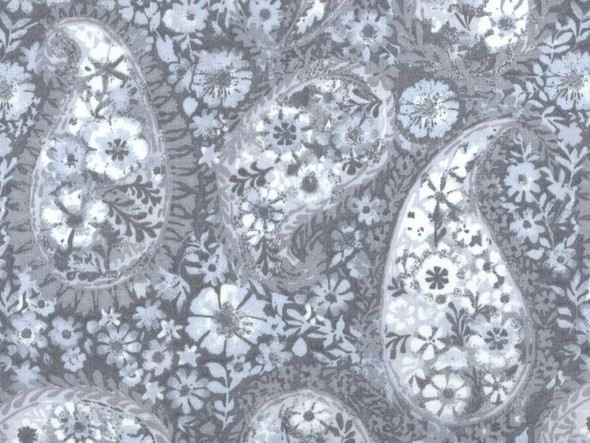 Choice Light Gray large paisley quilt backing