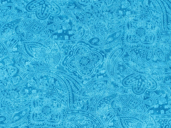 Turquoise Subtle Paisley Wide Quilt Backing