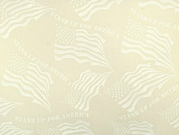 White on Cream Patriotic Stand up Wide Quilt Backing Fabric