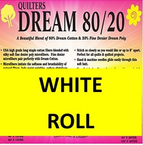 Quilters Dream 8020 White Quilt Batting by the roll
