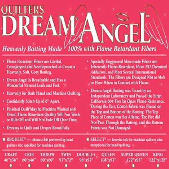 Dream Angel Quilt Batting (Case(6), Double 93 in x 96 in)shipping included*