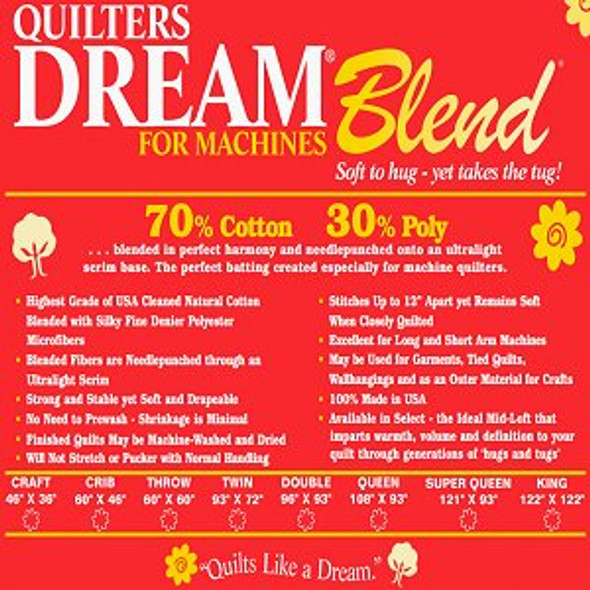 Dream Blend for Machines Quilt Batting Twin (Package, Twin 72 in. x 93 in.)