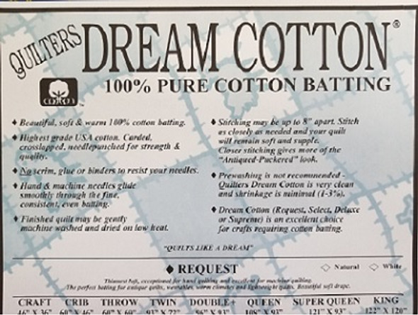Dream Cotton Natural  Deluxe Quilt Batting(Roll.Queen  93 In x 30 yds)