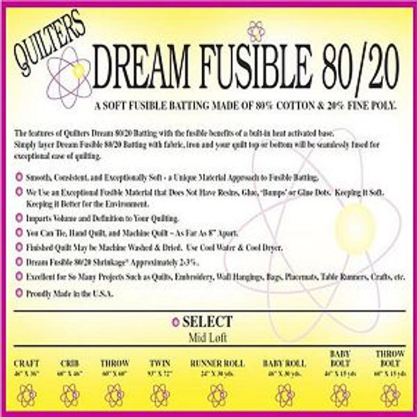 Dream Fusion 80/20 Quilt Batting(Case(7), Twin 72 in x 93 in)shipping included*