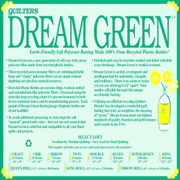 Dream Green Quilt Batting (Case (4), King 122 in. x 120 in.)shipping included*