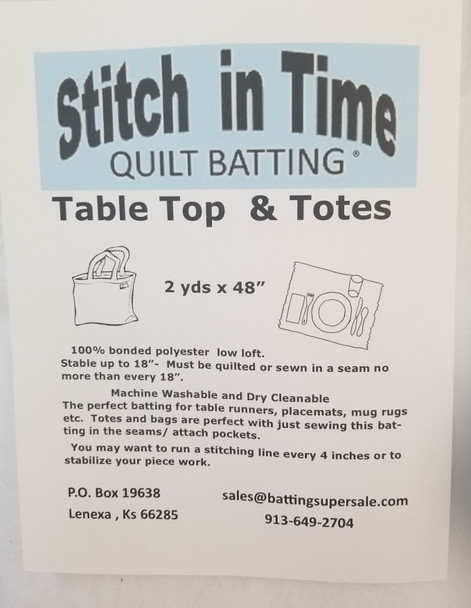 Table Top & Totes Quilt Batting