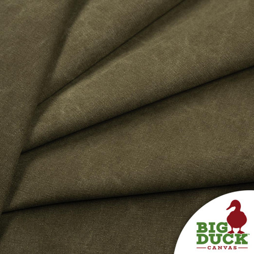 Stone Washed Canvas Olive Drab Cotton Discount Fabric Rolls