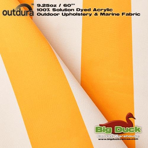 "Outdura™ 9.25oz/60"" Premium UV Marine & Awning Fabric YELLOW & WHITE STRIPE"